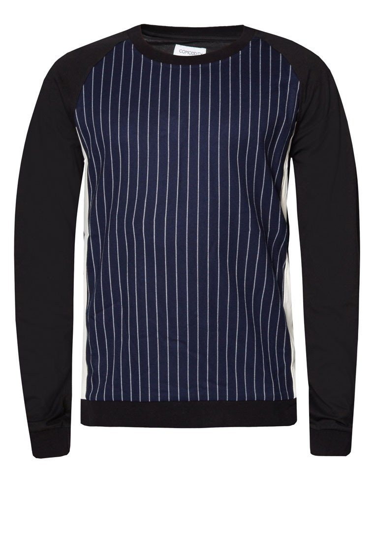 Striped Panelled Leather Sweater Men's Outerwear CMDI