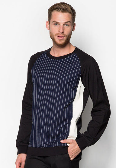 Striped Panelled Leather Sweater - Men's Outerwear - CMDI - Naiise