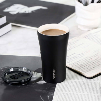 STTOKE REUSABLE COFFEE CUP 12oz - Luxe Black - Thermal Mugs - Sttoke - Naiise