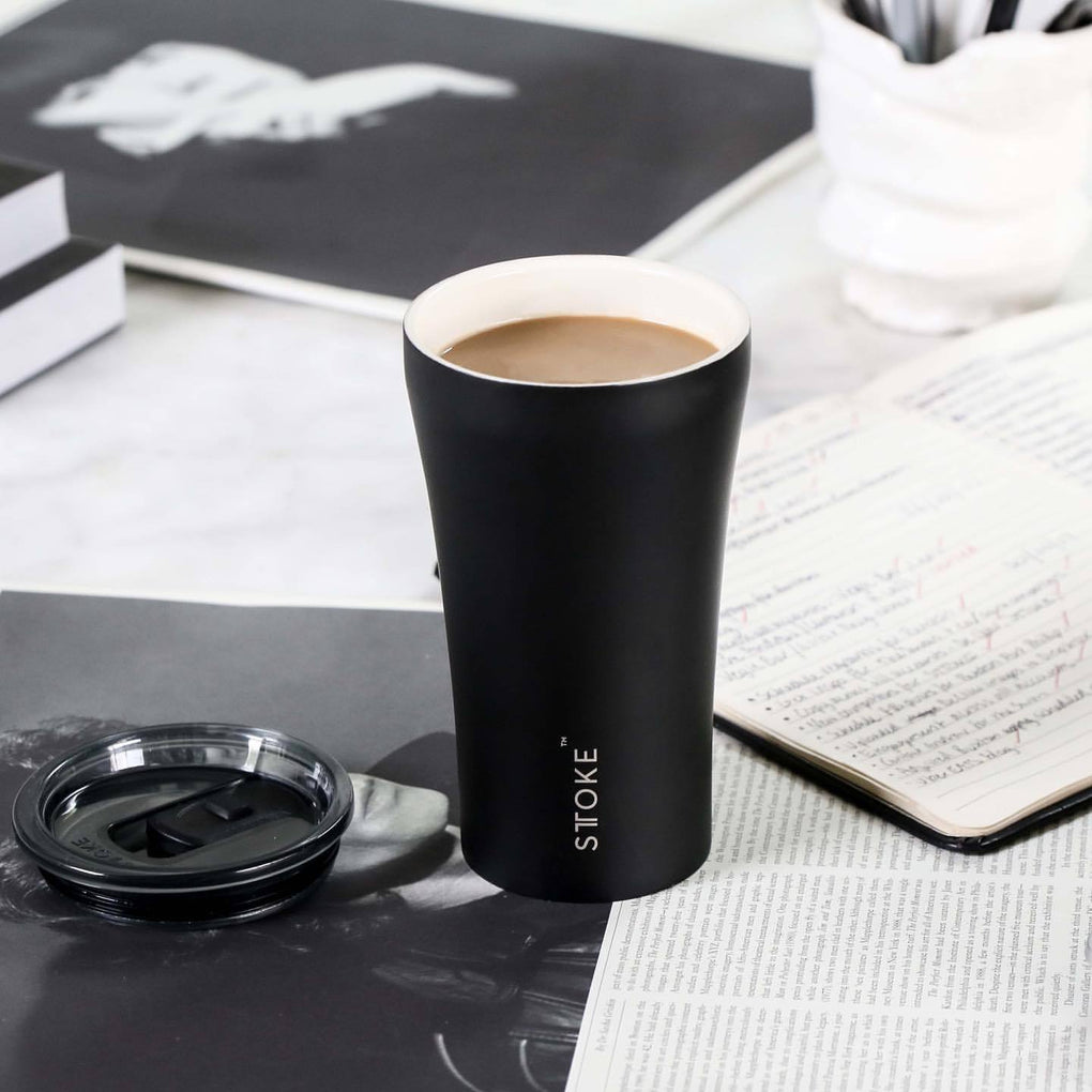 STTOKE REUSABLE COFFEE CUP 12oz - Luxe Black Thermal Mugs Sttoke Luxe Black