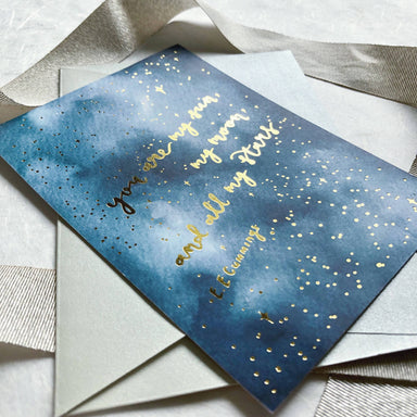 Sun, Moon and Stars | Gold Foiled Greeting Card - Love Cards - Papercranes Design - Naiise