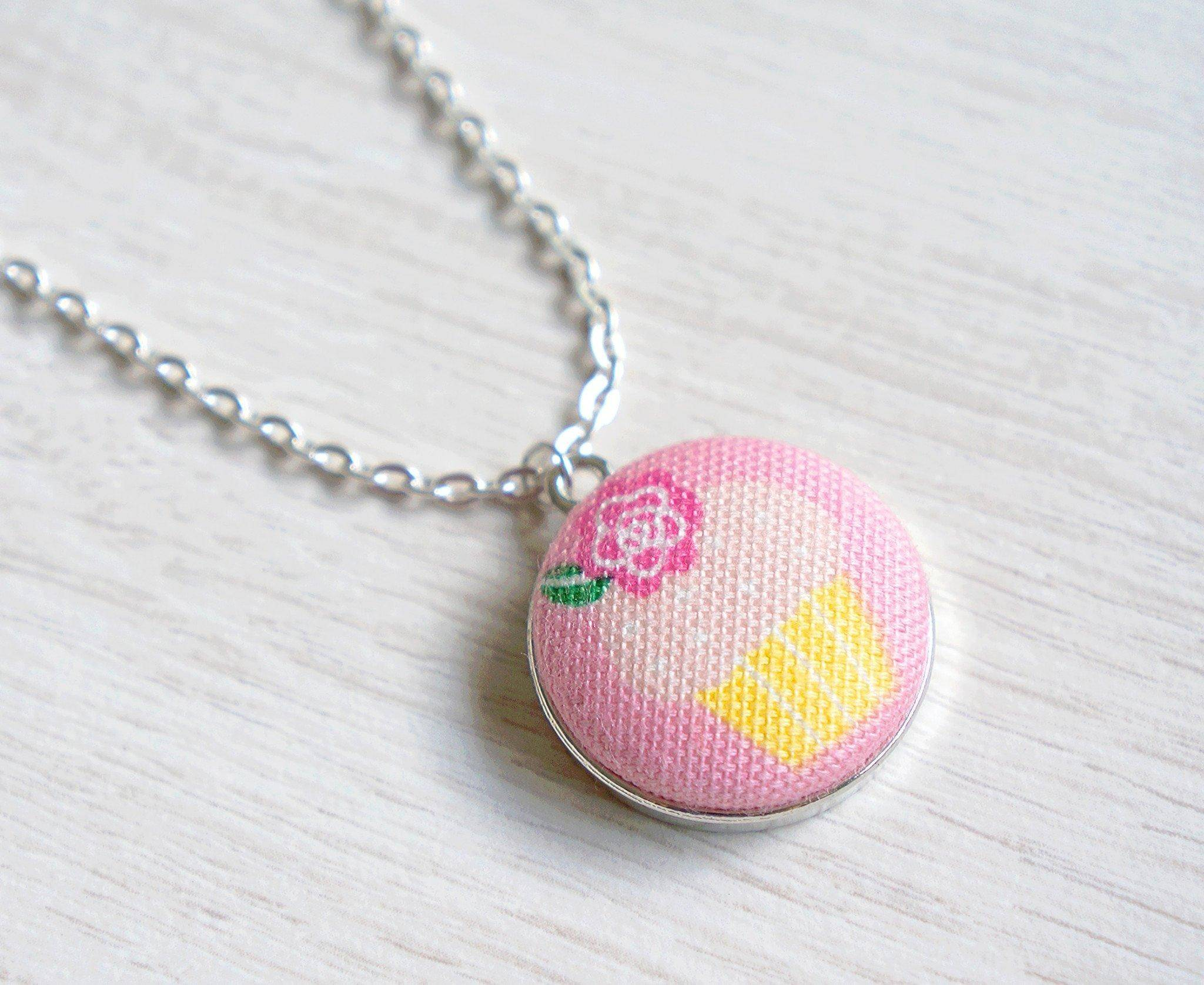 Sunrise Cupcake Handmade Fabric Button Necklace - Necklaces - Paperdaise Accessories - Naiise