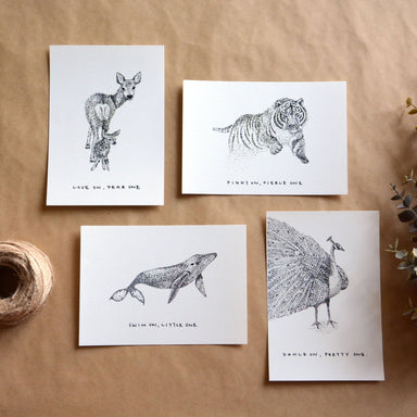Survival Series | Pointilism Animal Postcards (Set of 4) New Arrivals Papercranes Design
