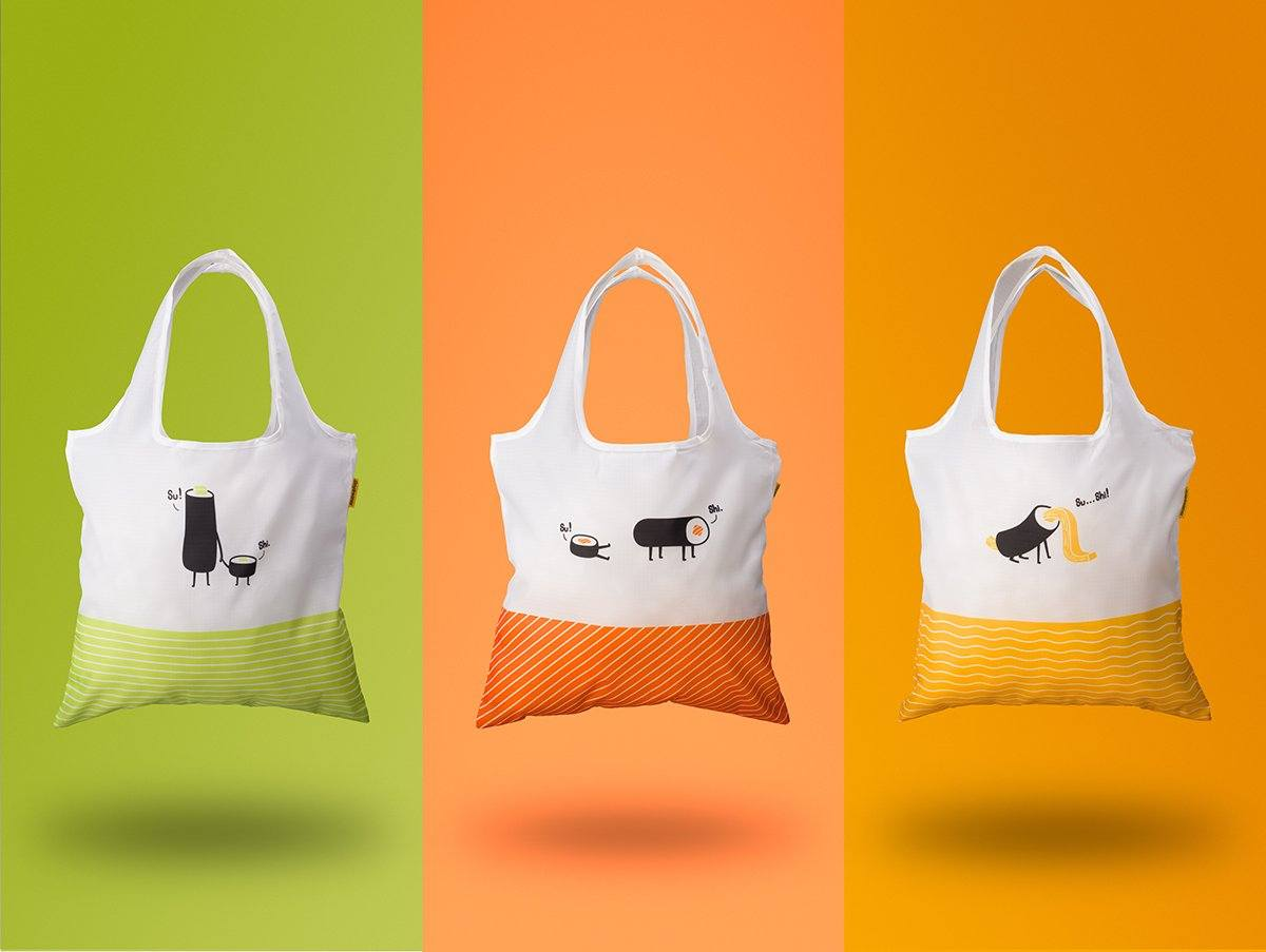 Sushi Foldaway Bag - Salmon - Tote Bags - The Daydreamer Studio - Naiise