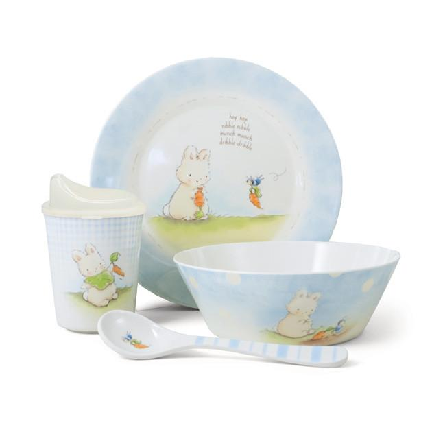 Sweet & Tender Dish Set - Blue 4pc Children Cutlery Bunnies By The Bay