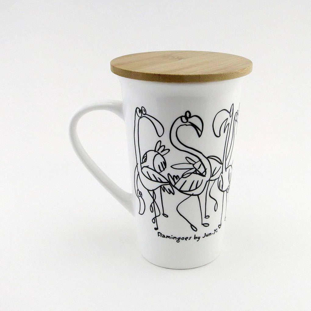Tall Mug with Wooden Lid - Flamingoes Mugs The Animal Project