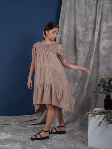 Tan Puffed Sleeve Tiered Dress - Dresses - Whispers & Anarchy - Naiise