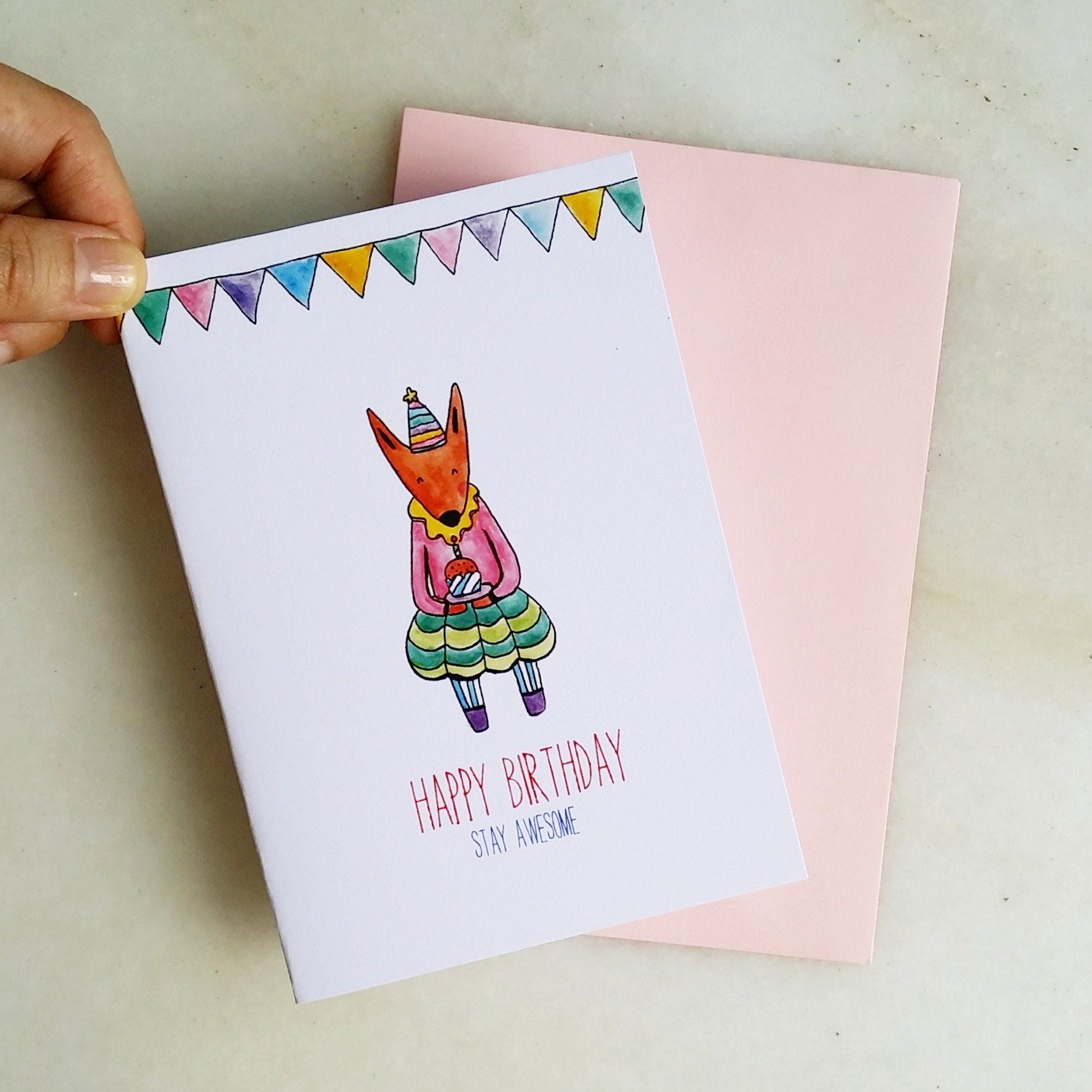 TDGHS Greeting Card - Happy Birthday Stay Awesome Generic Greeting Cards TDGHS