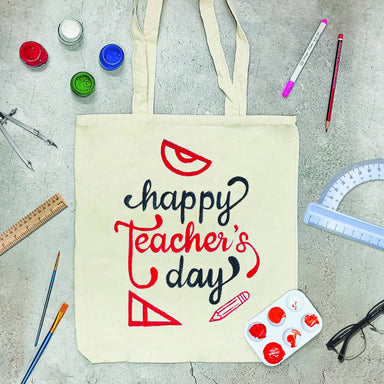 Teacher's Day Hand-painted Tote Bag Tote Bags Streaks n Strokes