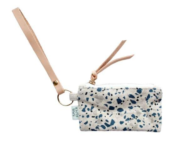 Terrazzo Blue Grey II Card Coin Pouch Coin pouches 5mm Paper