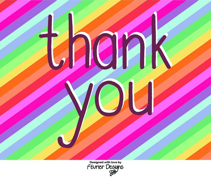 Thank You Rainbow Card Generic Greeting Cards Fevrier Designs