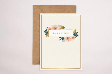 Thank You(Cream Floral) Card Thank You Cards YOUNIVERSE DESIGN