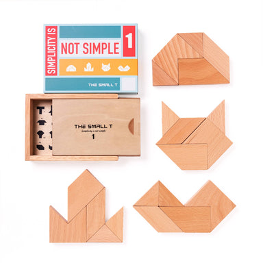 The Small T Tangram Brain Teaser Puzzle I Stem toys Wooden blocks Montessori puzzle | IQ Puzzle for kids ages 8-12 - Level 1 - Kids Toys - The Small T - Naiise