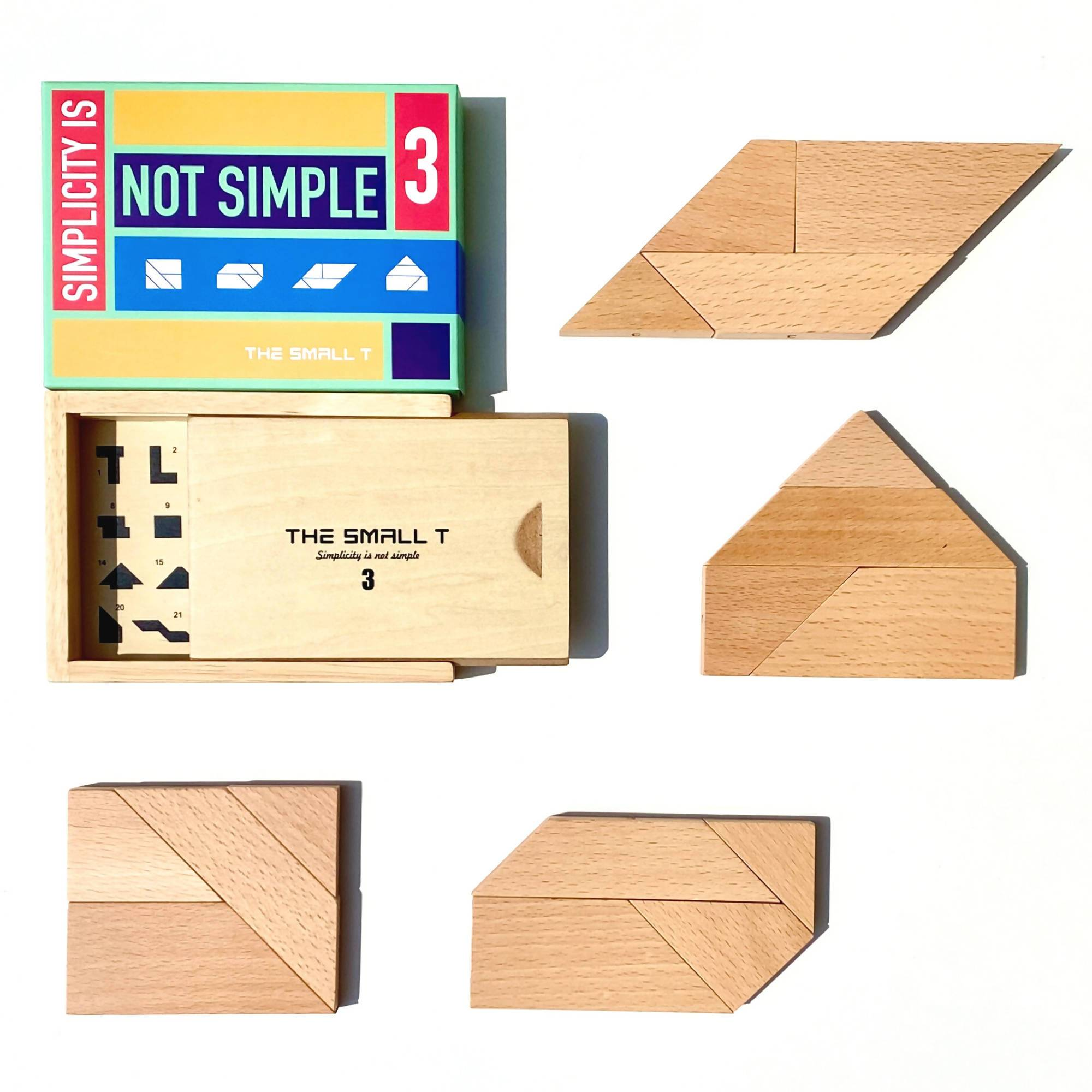 The Small T Tangram Brain Teaser Puzzle I Stem toys Wooden blocks Montessori puzzle | IQ Puzzle for kids ages 8-12 - Level 3 - Kids Toys - The Small T - Naiise