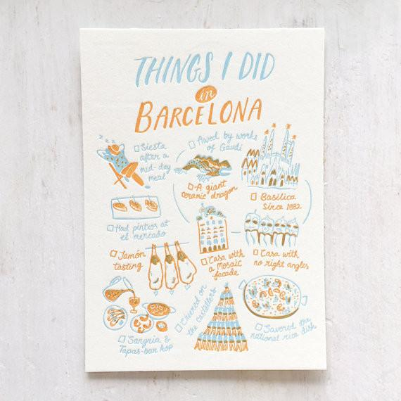 Things I Did In Barcelona Postcard - Naiise