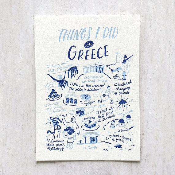 Things I Did In Greece Postcard - Postcards - The Fingersmith Letterpress - Naiise