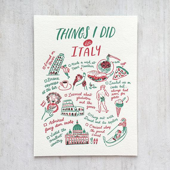 Things I Did In Italy Postcard - Postcards - The Fingersmith Letterpress - Naiise