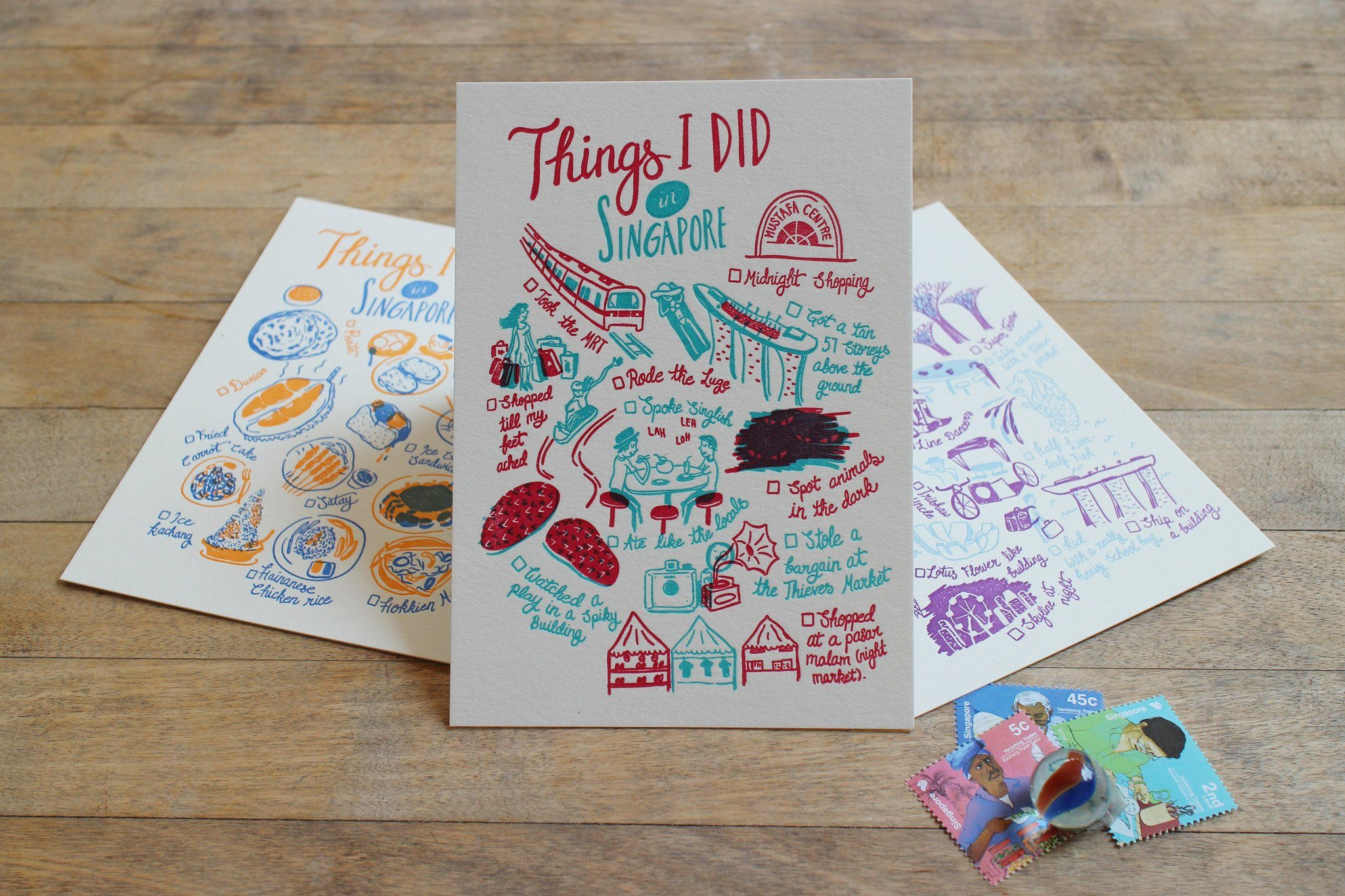 Things I Did In Singapore Postcard - Local Postcards - The Fingersmith Letterpress - Naiise
