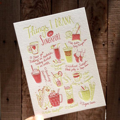 Things I Drank In Singapore Postcard - Local Postcards - The Fingersmith Letterpress - Naiise