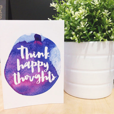 Think Happy Thoughts Card Print - Encouragement Cards - Peonies In Print - Naiise