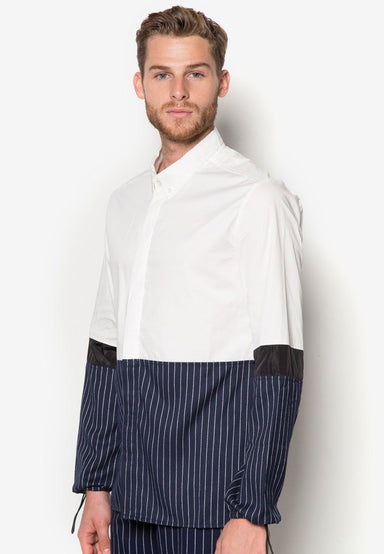 Top Plain Bottom Striped Shirt - Men's Shirts - CMDI - Naiise
