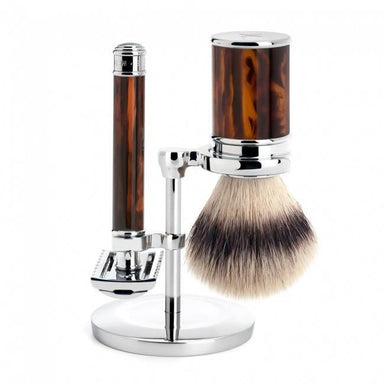 Traditional shaving set, turtoise shell with safety razor - Shaving Set - MÜHLE Singapore - Naiise
