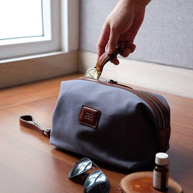 Traveling Dopp Kit Mens Pouches Welkin & Spine Grey
