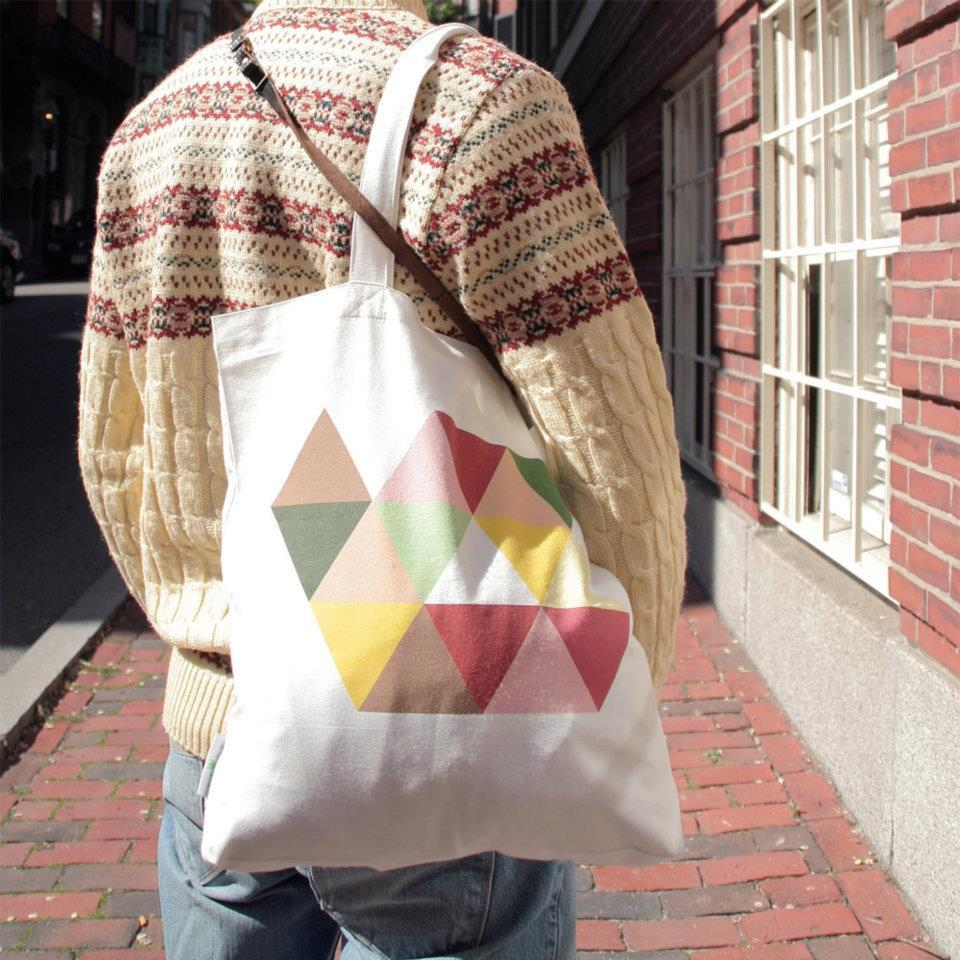 Triangle Geometric Art Tote Bag Tote Bags B-Diff