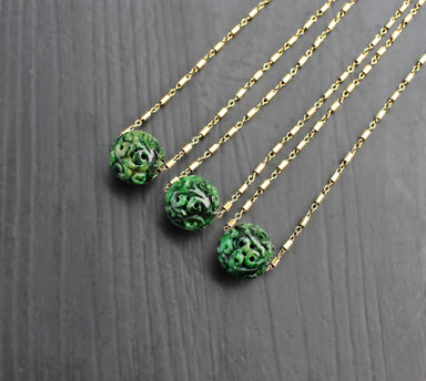 Carved Jade ball 14K Gold Filled Floating Necklace - Necklaces - SaruchiRJewellery - Naiise