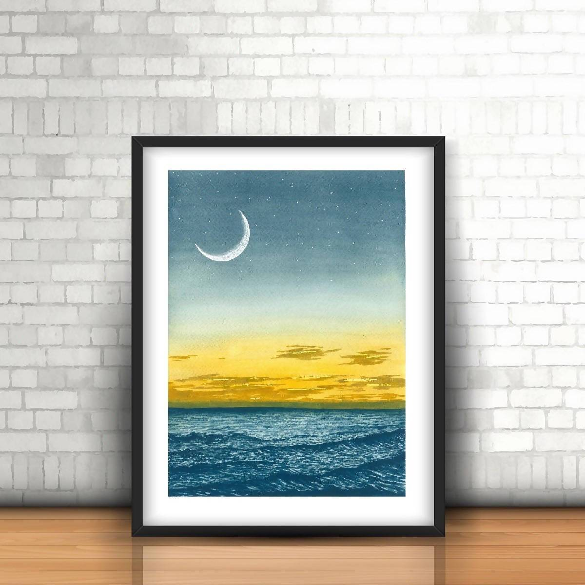 Wavy Night Watercolor Art Print - Art - Sketchyo - Naiise