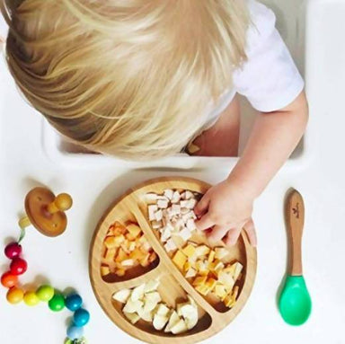 Bamboo Stay Put Suction Baby Divided Plate + Spoon - Blue - Kids Utensils - The Children's Showcase - Naiise