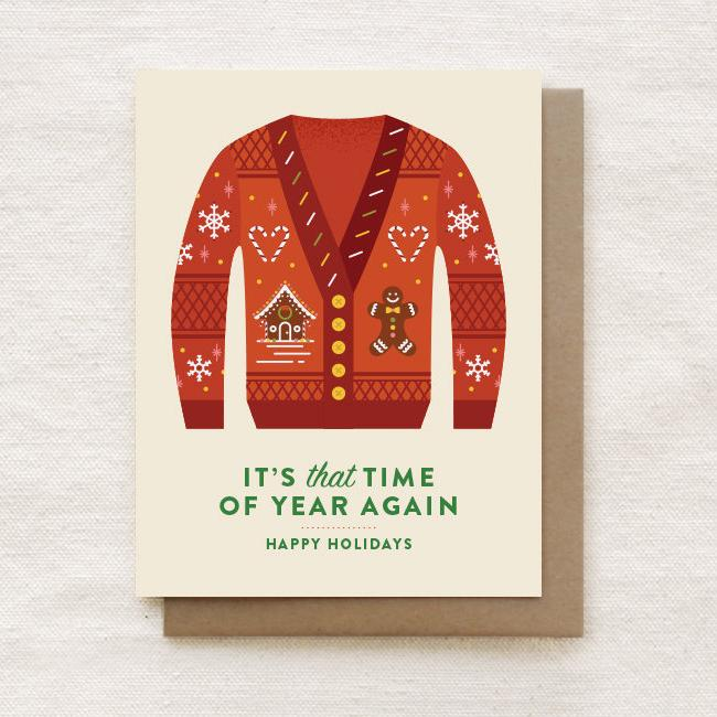 Ugly Christmas Cardigan - Happy Holidays, Christmas Greeting Card - Naiise