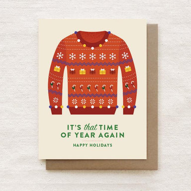 Ugly Christmas Sweater - Happy Holidays, Christmas Greeting Card Christmas Cards Quirky Paper Co.