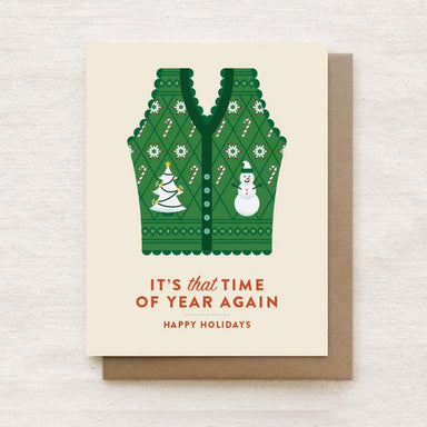 Ugly Christmas Vest - Happy Holidays, Christmas Greeting Card Christmas Cards Quirky Paper Co.