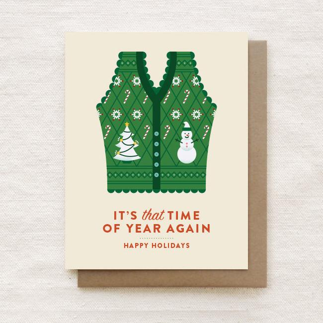 Ugly Christmas Vest - Happy Holidays, Christmas Greeting Card - Christmas Cards - Quirky Paper Co. - Naiise