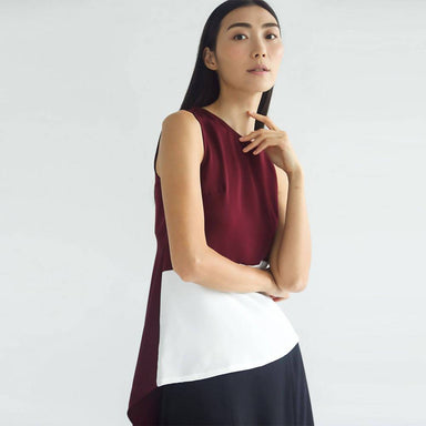 Ula Asymmetric Top With Back Draped Panel - Mahogany - Women's Tops - Salient Label - Naiise