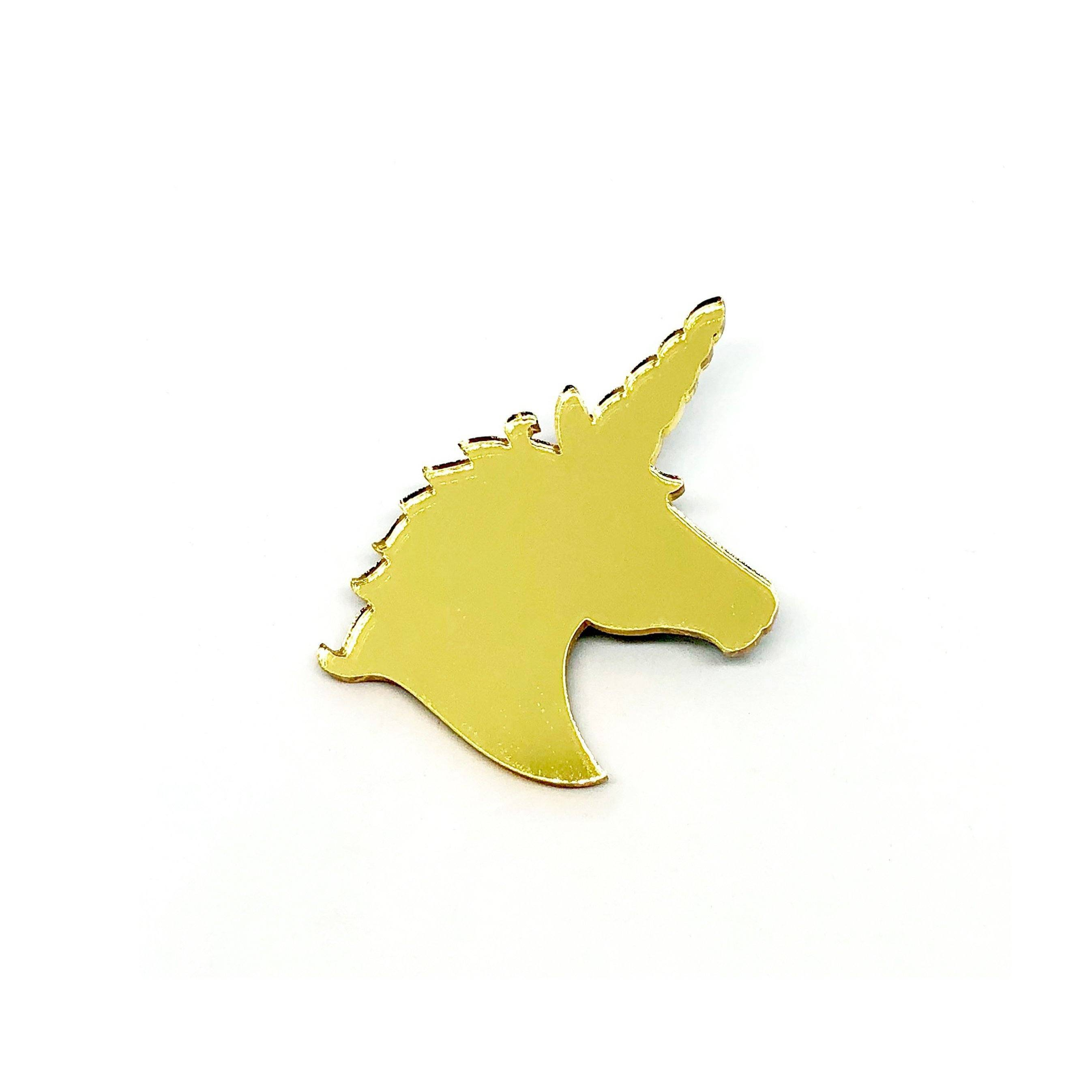 Unicorn Gold Mirror Laser Cut Acrylic Brooch Pin - Brooches - Paperdaise Accessories - Naiise