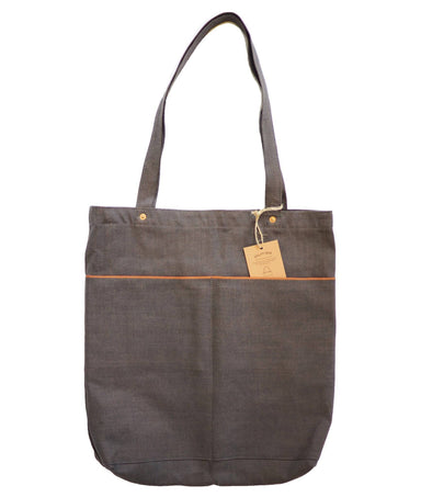 Utility Tote Bag V2 (11oz Grey Selvedge Denim) - Tote Bags - Journal Projects - Naiise