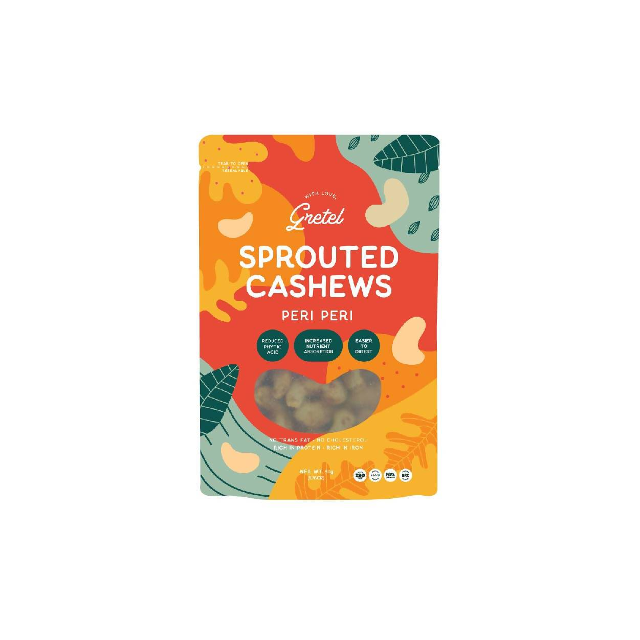 Gretel Sprouted Cashew Nuts (150g) - Nuts - Zesty Leaf - Naiise