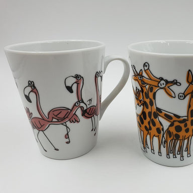 V-Mug Set ( Set of 2 ) Mugs The Animal Project Flamingo & Giraffe