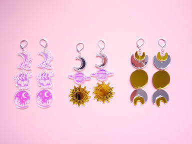 Sun Moon Planet Chain Earrings - Earrings - Loopy Fruppy - Naiise