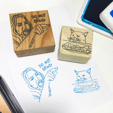 Angry Woman VS Cat Do Not Bend - Funny Clear Jelly Rubber Stamp Rubber Stamps Ping Hatta. Studio