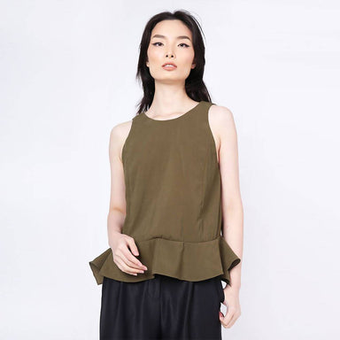 Valencia Side Drape Top in Camper Women's Tops Salient Label
