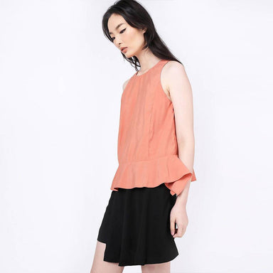Valencia Side Drape Top in Terra Cotta Women's Tops Salient Label