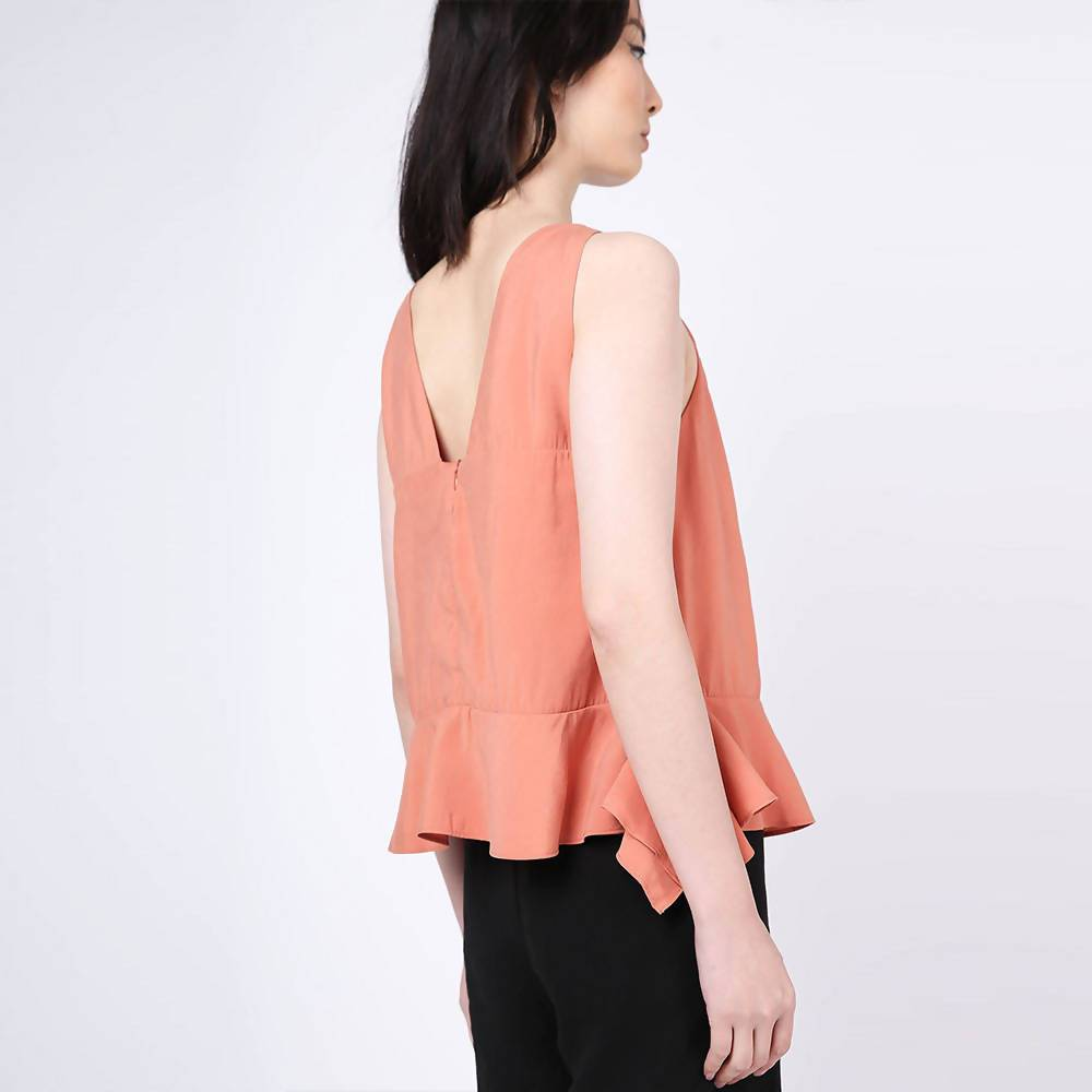 Valencia Side Drape Top in Terra Cotta - Women's Tops - Salient Label - Naiise