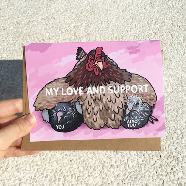 My love and support chicken pigeon card - Cat Greeting Card - Love Cards - Ping Hatta. Studio - Naiise