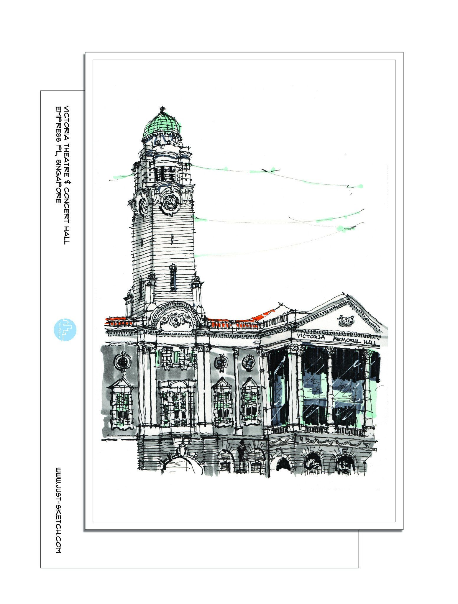 Victoria Theatre & Concert Hall Postcard - Local Postcards - Just Sketch - Naiise