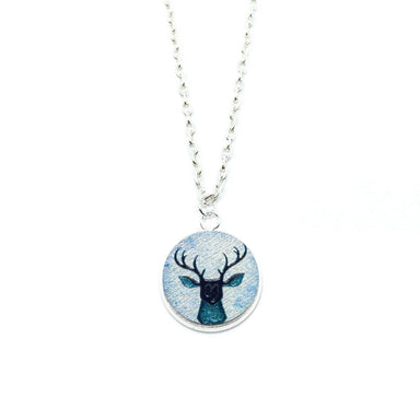 Vintage Blue Deer Wood Pendant Necklace - Necklaces - Paperdaise Accessories - Naiise