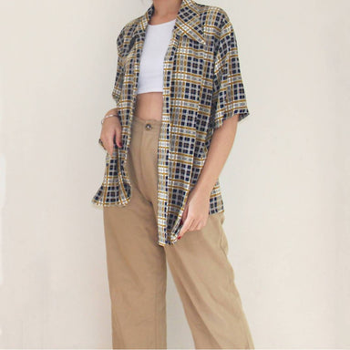 Vintage Brown Checked Blouse - Women's Tops - Lucky Chance - Naiise