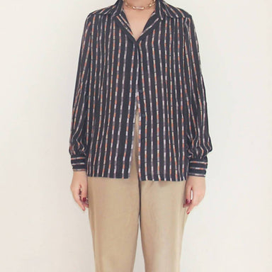 Vintage Brown Striped Blouse - Women's Tops - Lucky Chance - Naiise